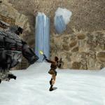 Lara Croft combattant le gardien du talion