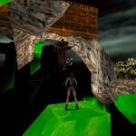 Lara sur un petit ilot en suspension dans l'air toute proche d'un ennemi volant