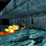 Lara se battant contre un ennemis armé d'un lance flamme